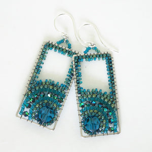 Long Rectangle Swarovski Sunrise Earrings