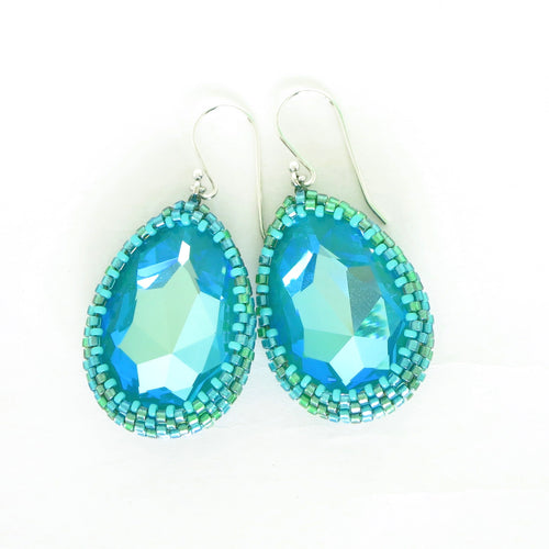 Stunning Aqua Teardrop Earrings with Swarovski Crystals