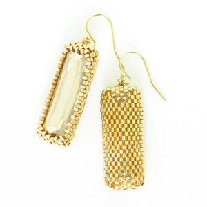 Bold Elongated Rectangle Earrings with Swarovski Crystals--2 colors