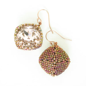 Large Rounded Square Drop Earrings with Swarovski Crystals--2 options