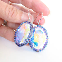 Load image into Gallery viewer, Large Oval AB Swarovski Bezel Earrings