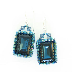 Large Rectangular Swarovski Bezeled Earrings--3 colors