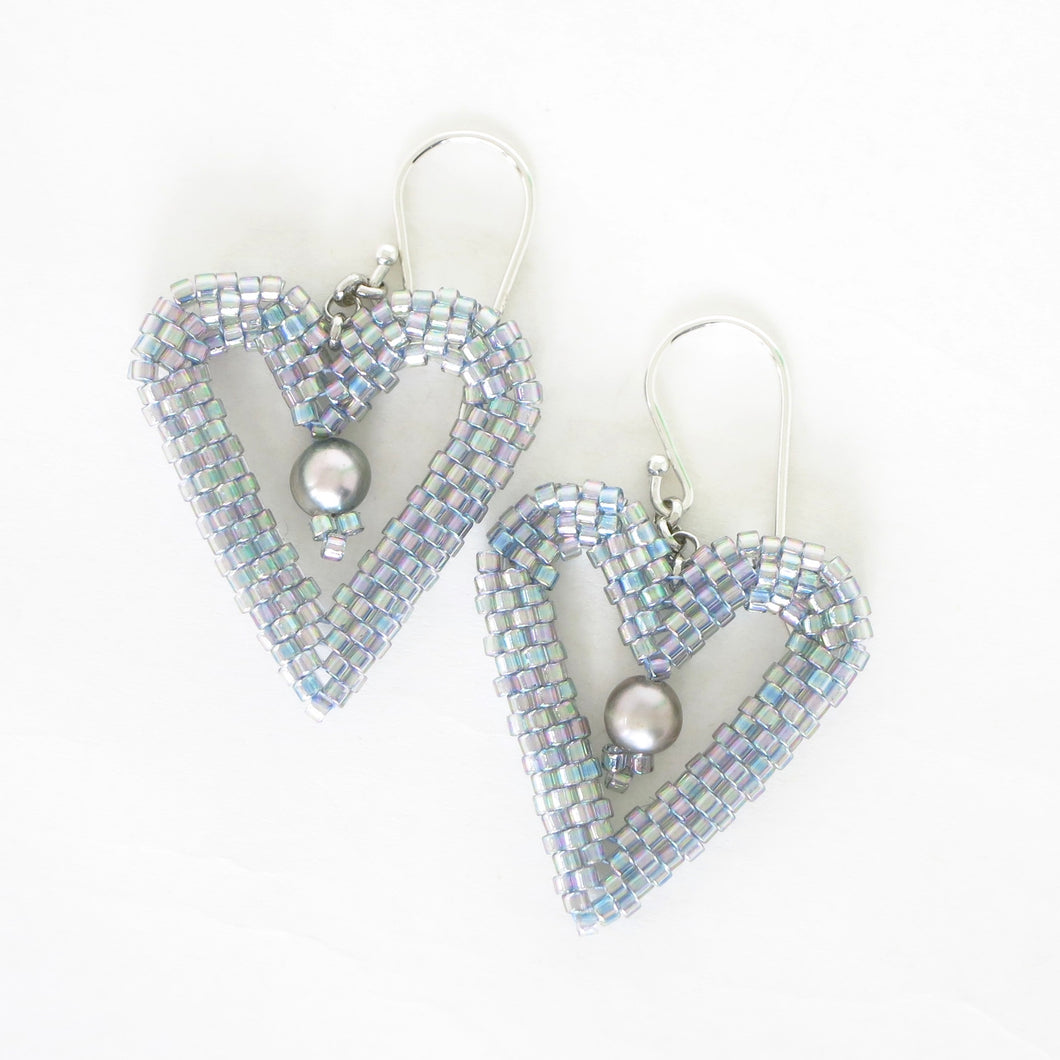 Woven Heart Earrings with Pearls