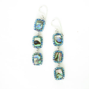 Triple Drop Paua Shell Earrings, small