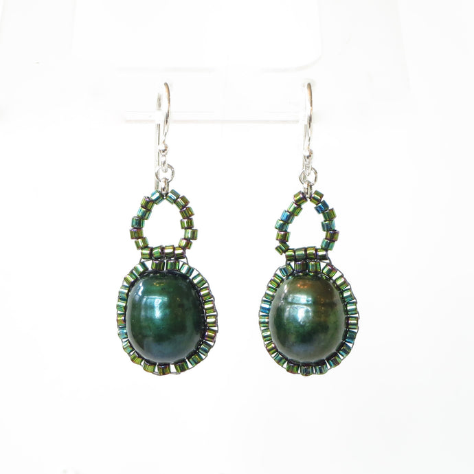 Green Pearl Drop Earrings