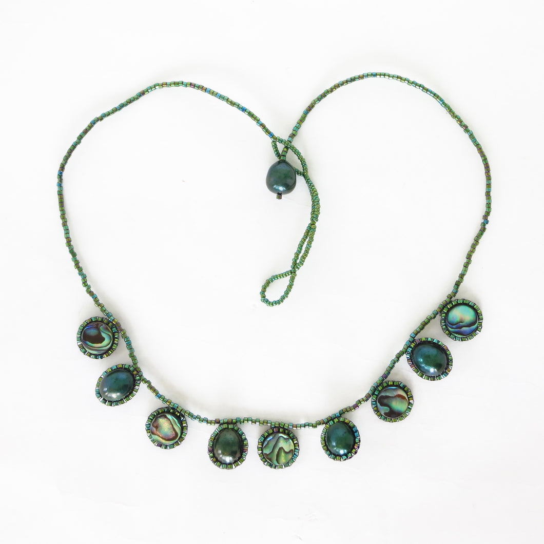 Paua Shell and Pearl Drops Necklace