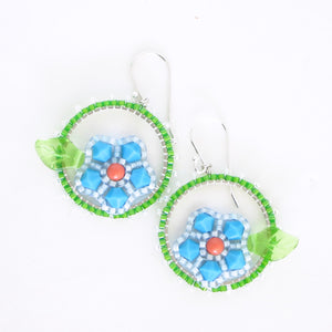 Framed Spring Flower Earrings, Single Turquoise