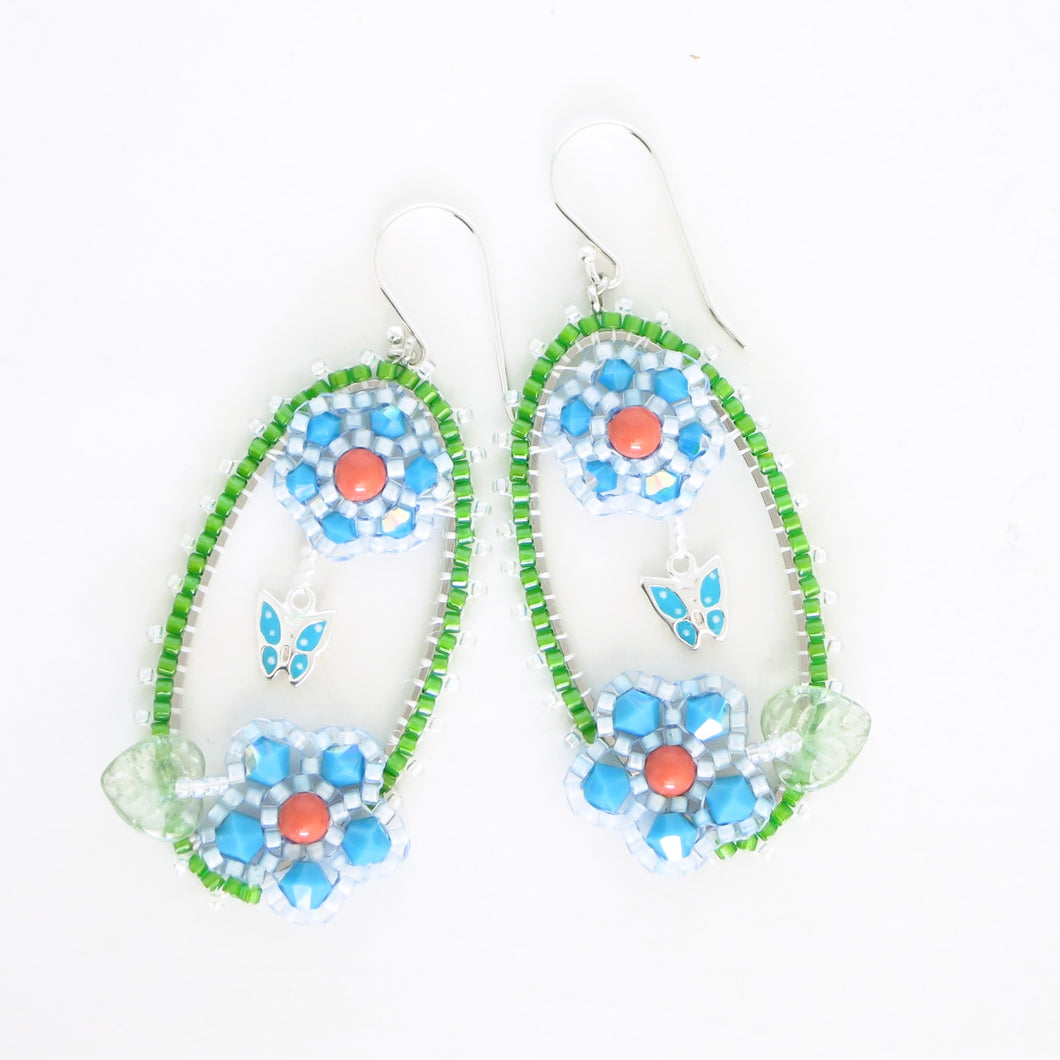 Framed Spring Flower Earrings, Double Turquoise
