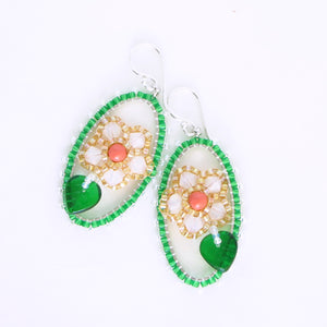 Framed Spring Flower Earrings, Single Oval