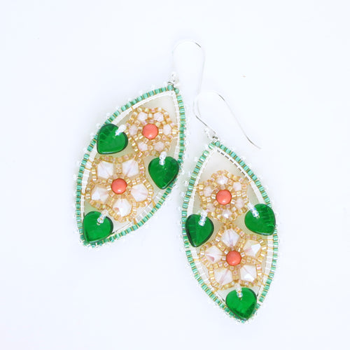 Framed Spring Flower Earrings, Double Blossom