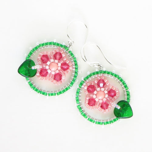 Framed Spring Flower Earrings, Single Cherry Blossom