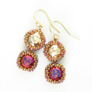 Double Drop Swarovski Bezeled Earrings