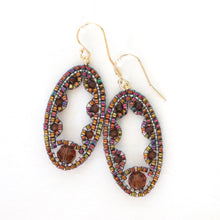 Load image into Gallery viewer, Lacy Ellipse Earrings with Swarovski crystals/pearls