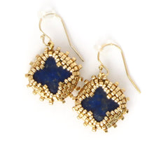 Load image into Gallery viewer, Lapis Quatrefoil Drop Earrings
