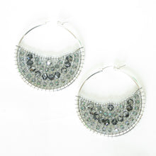 Load image into Gallery viewer, Large Beaded Hoops with Swarovski Crystals