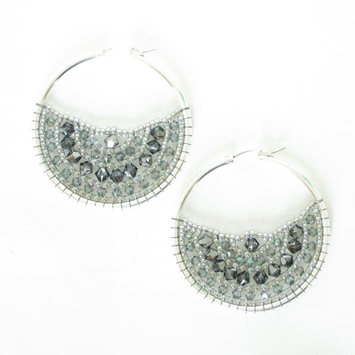 Large Beaded Hoops with Swarovski Crystals