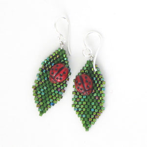 Ladybug on Leaf Earrings