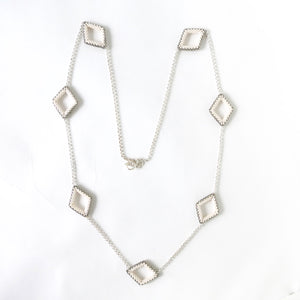 Open Diamonds Chain Station Necklace & Earrings