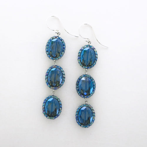 Triple Drop Oval Iridescent Earrings