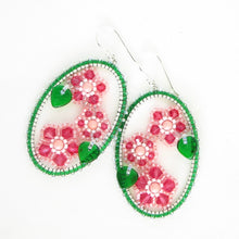 Load image into Gallery viewer, Framed Spring Flower Earrings, Triple Cherry Blossom