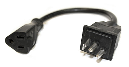 Male Lamp Cord w/120V Female End 1' - LE