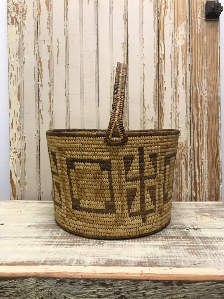 Vintage Tohono O'odham Papago Polychrome Pail Handle Basket - Crosses and Cornstalk Design
