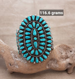Vintage Turquoise Cluster Cuff by R. B. Loncesion, Zuni Pueblo