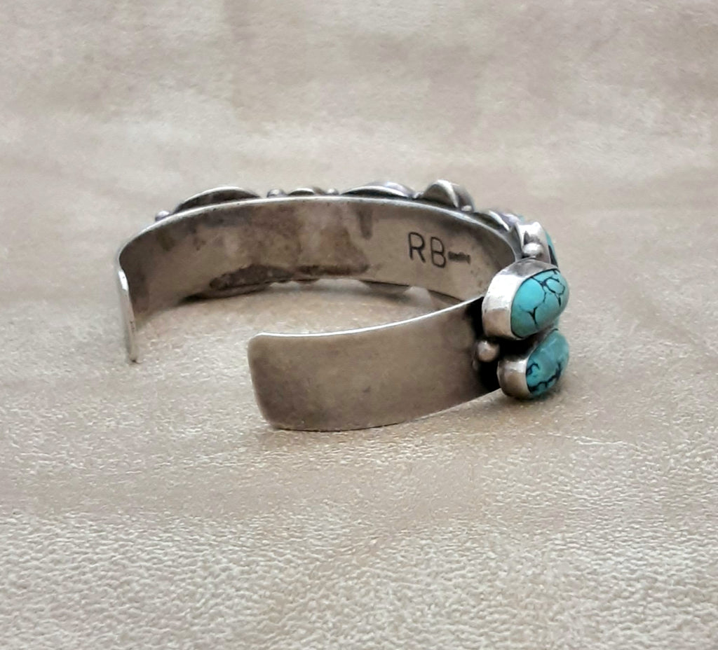Vintage Authentic Navajo Turquoise Bracelet Cuff Signed RB
