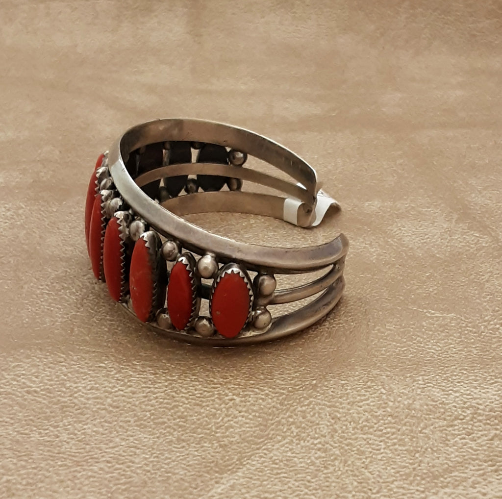 Navajo Cuff Bracelet with Coral set in Sterling Silver