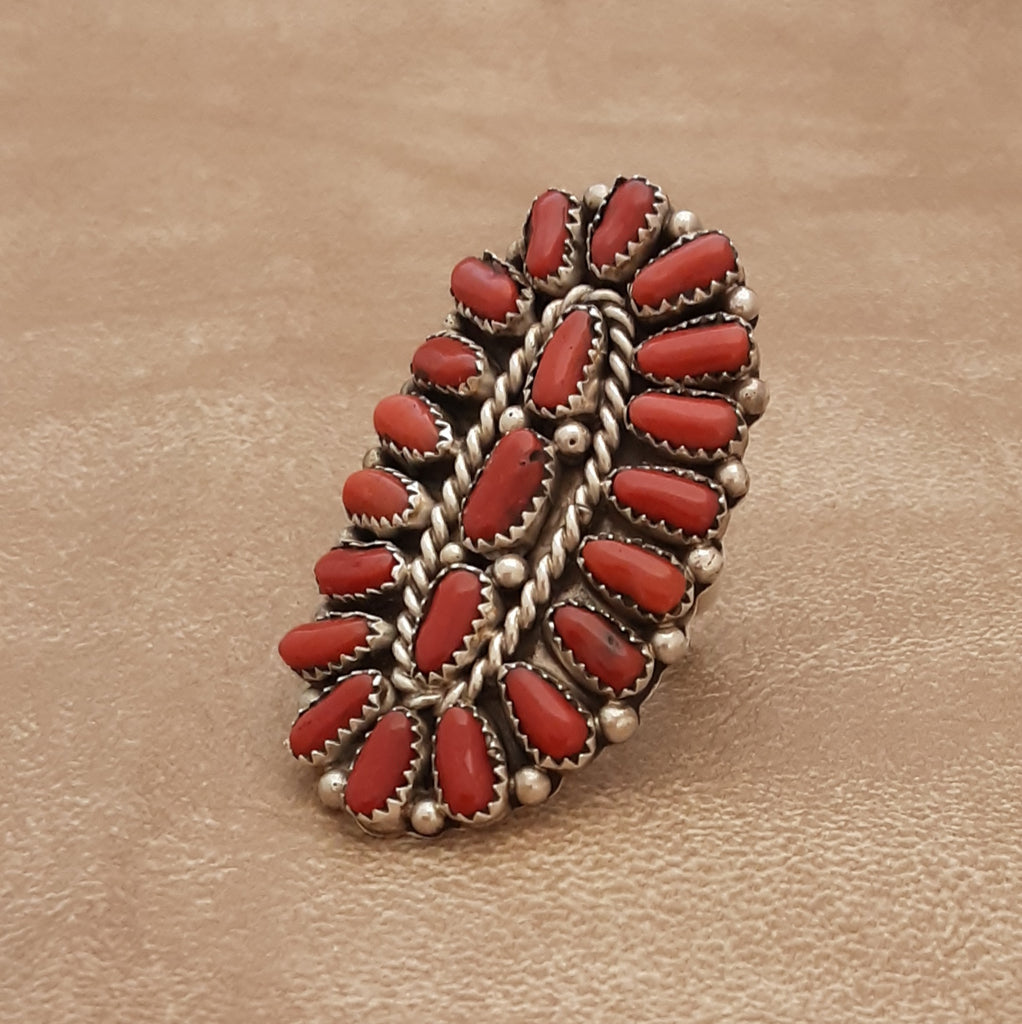 Authentic Navajo Coral cluster Ring by Justina Wilson