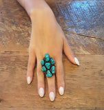 Authentic Navajo Cluster Turquoise Ring - Vintage