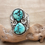Authentic Huge Vintage Navajo Cuff with Natural Turquoise