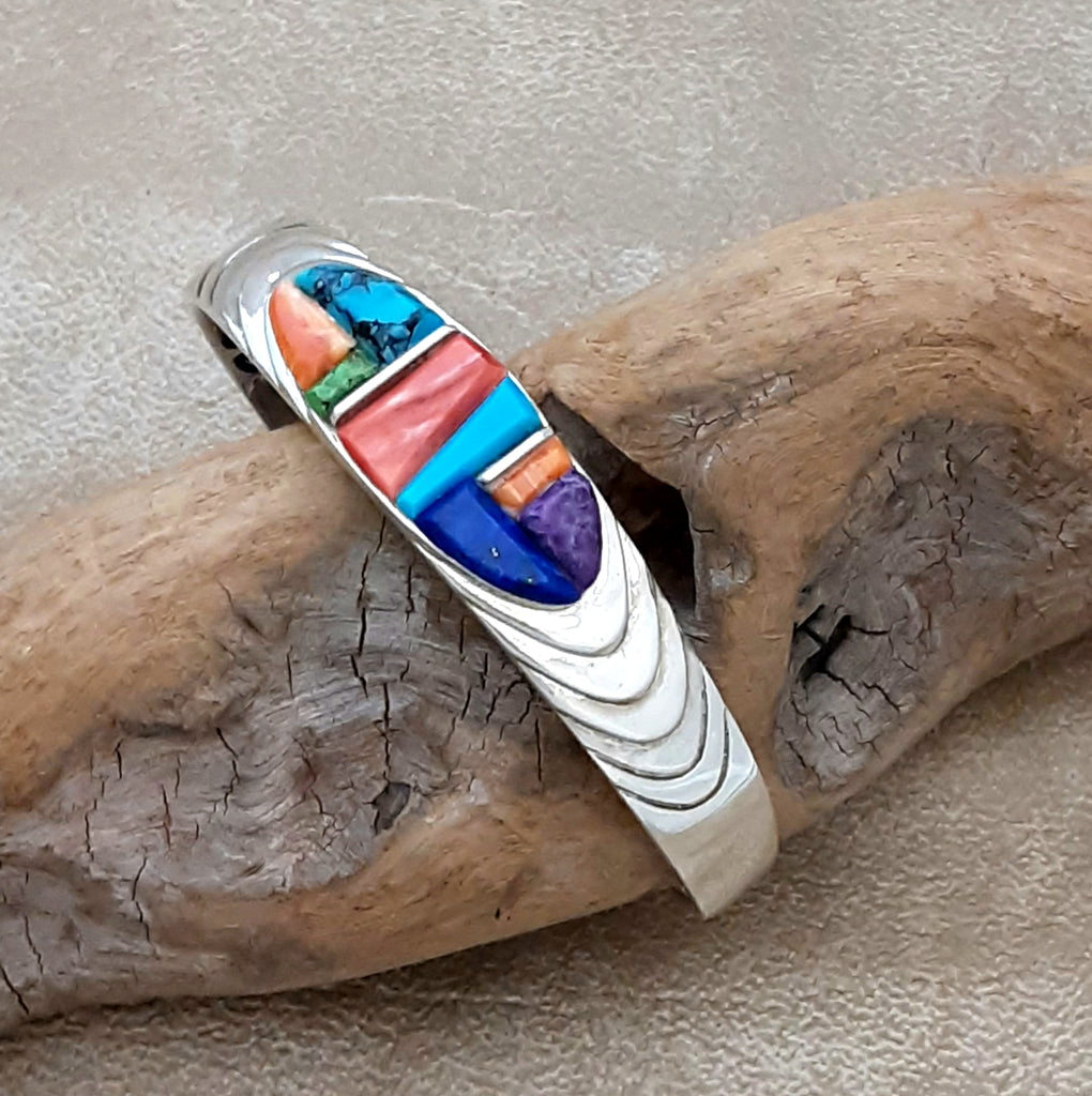 Multi Color Cobblestone Inlay cuff by Supersmith & designer, David Rosales