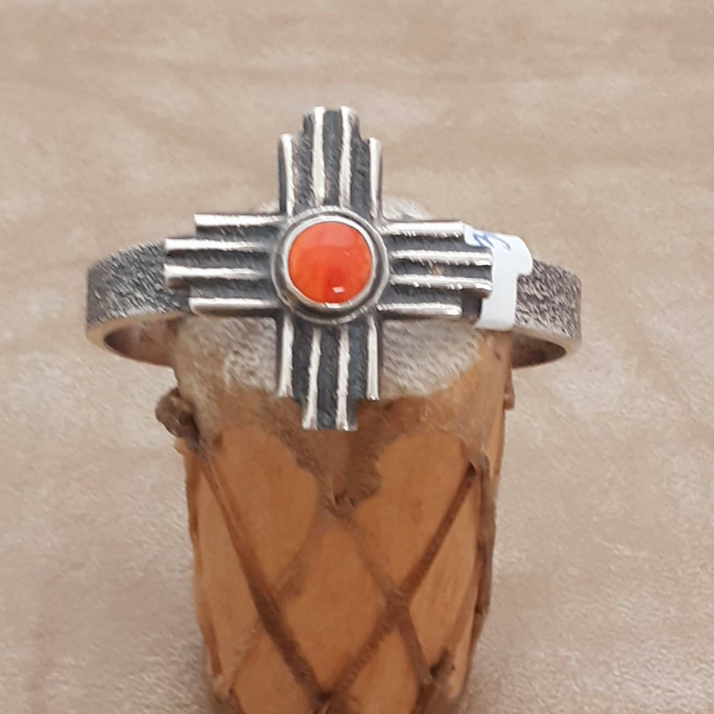Tufa Cast Sun Symbol Cuff with Spiny Oyster by Gary Custer, Navajo