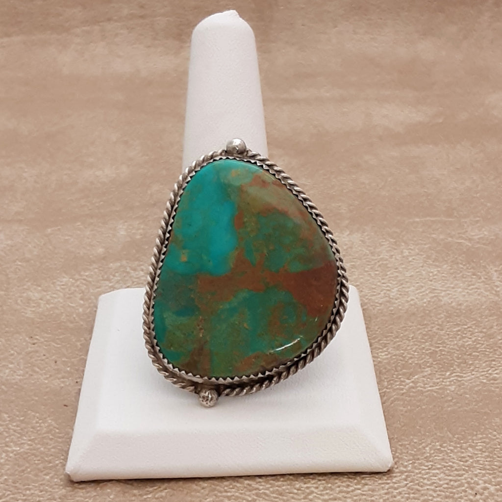 Vintage Large Green Turquoise Navajo Ring