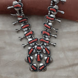 Authentic Vintage Navajo Squash Blossom with Red Coral - Huge!