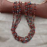 Native American Santo Domingo Spiny Oyster & Turquoise Heishi 5 strand Necklace by Jeanette Calabaza