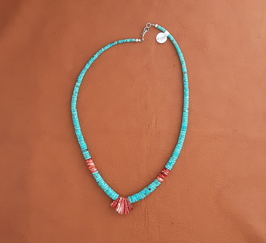 Spiny Oyster & Rolled Turquoise Heishe Necklace by Lupe Lovato, Santo Domingo Pueblo