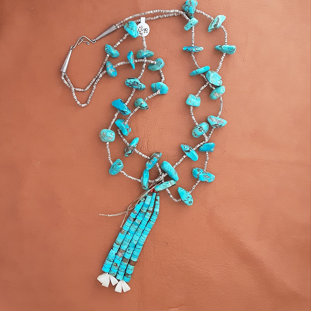 Vintage Santo Domingo Turquoise and Shell Necklace with Jacla