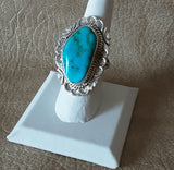 Authentic Navajo contemporary Turquoise ring with stampwork