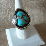 Vintage Navajo Turquoise ring with Handmade Leaf and Scroll