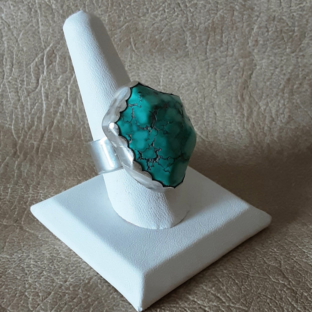 Huge Navajo Turquoise Nugget Ring set in Sterling Silver