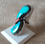Vintage Turquoise Navajo extra large Ring with Coral