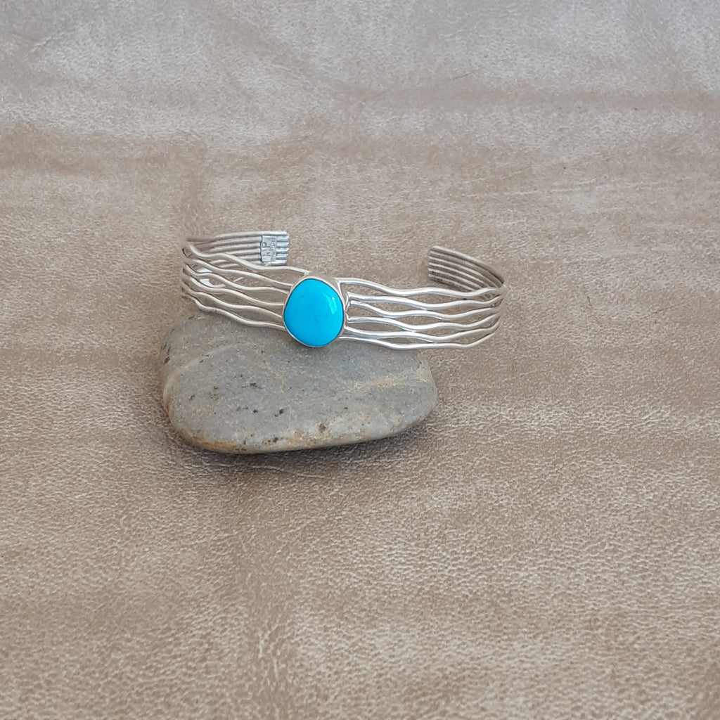 Contemporary Navajo cuff with blue turquoise signed MP