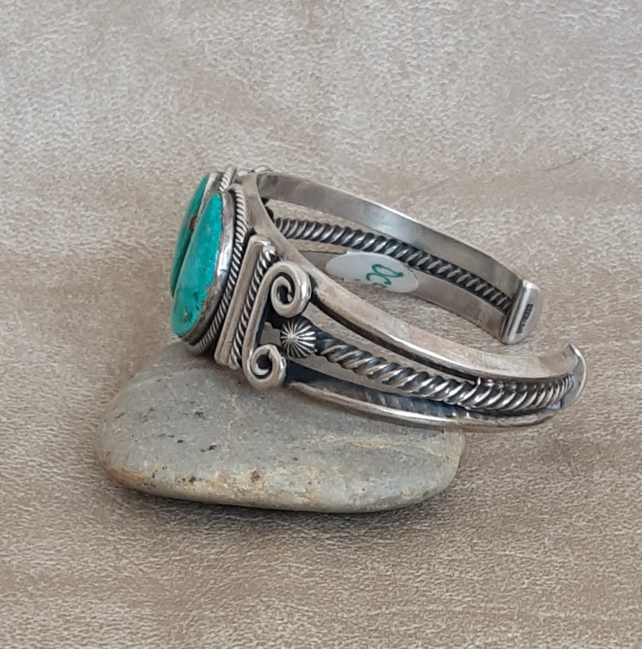Authentic Navajo Turquoise Cuff with Scroll Work