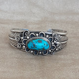 Authentic Navajo Hand Made Silver Cuff with Turquoise