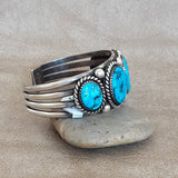 Turquoise Navajo Cuff with 5 Morenci Stones