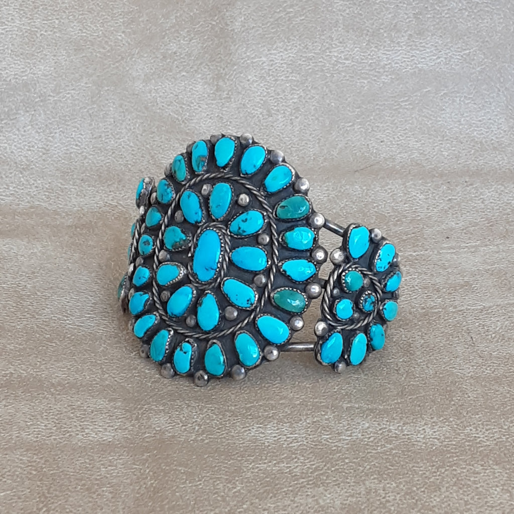 Authentic Native American Turquoise Cluster Bracelet
