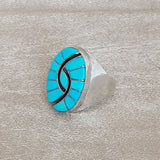 Turquoise Inlay Ring by Amy Quadelacy, Zuni