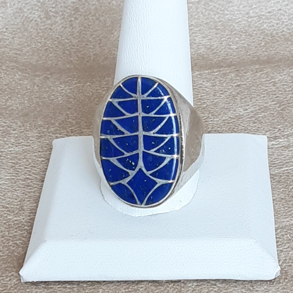 Zuni Inlay Ring With Lapis for Man or Woman